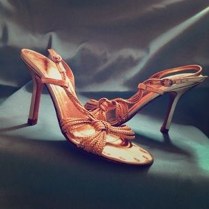 Banana Republic Gold Strappy Sling Back Heels 5